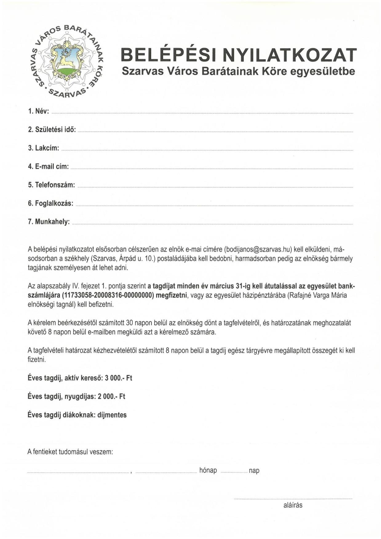 Belépési nyilatkozat 2020